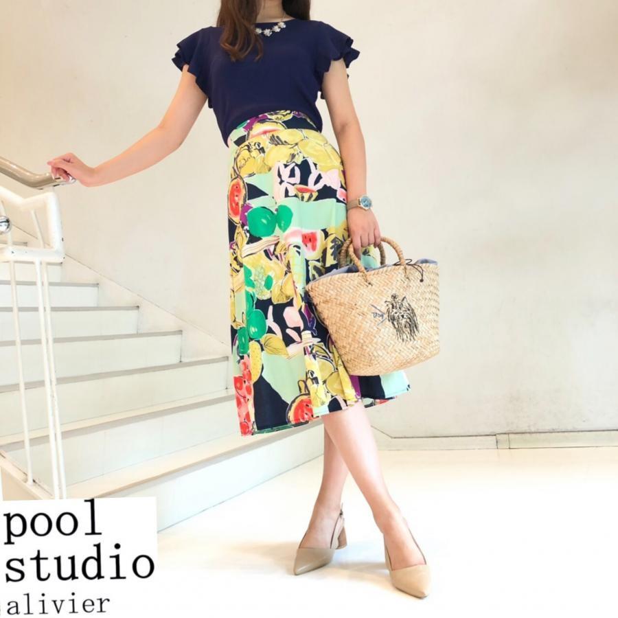 フルーツ&ベジタブル柄スカート