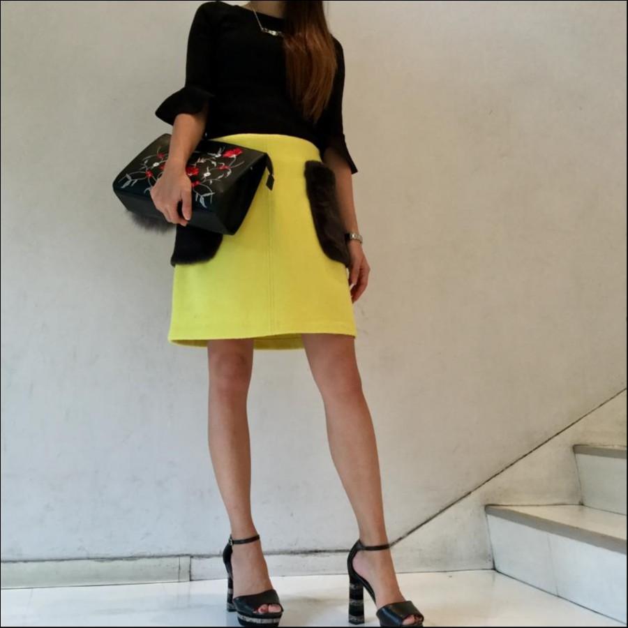 ポケットファー台形スカート
