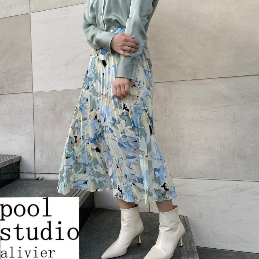 フラワープリント プリーツスカート