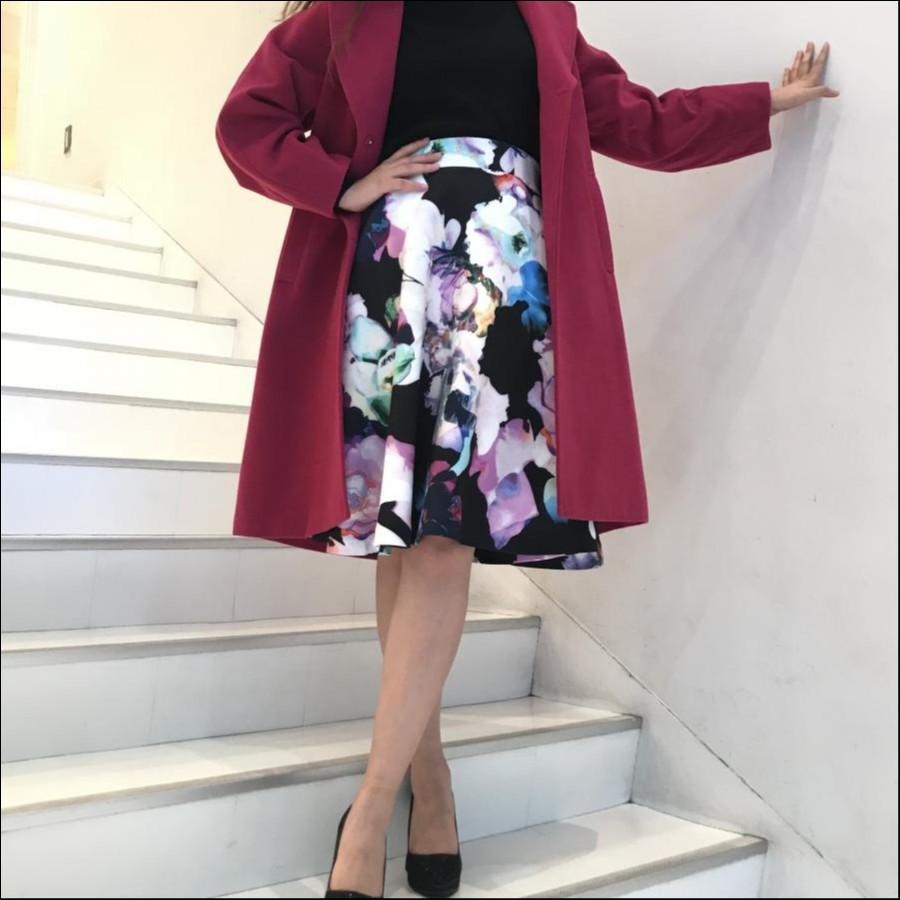 花柄ボンディングフレアスカート