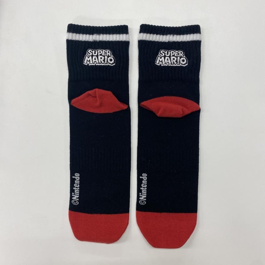 スーパーマリオ アメリブロゴ刺繍靴下(25~27cm)黒ベース×白ロゴ