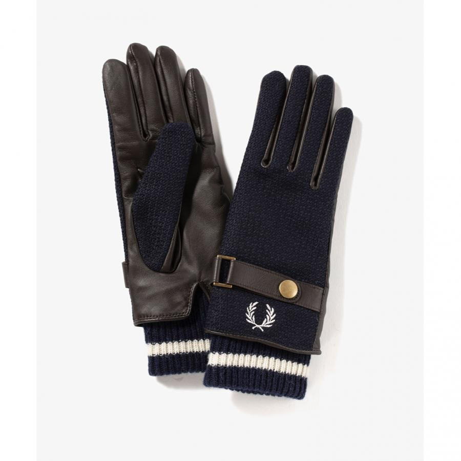 WOVEN LEATHER MIX GLOVES