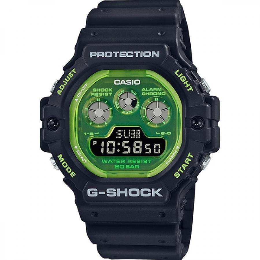 【G-SHOCK】DW-5900TS-1JF 透明 蛍光文字盤 メンズ