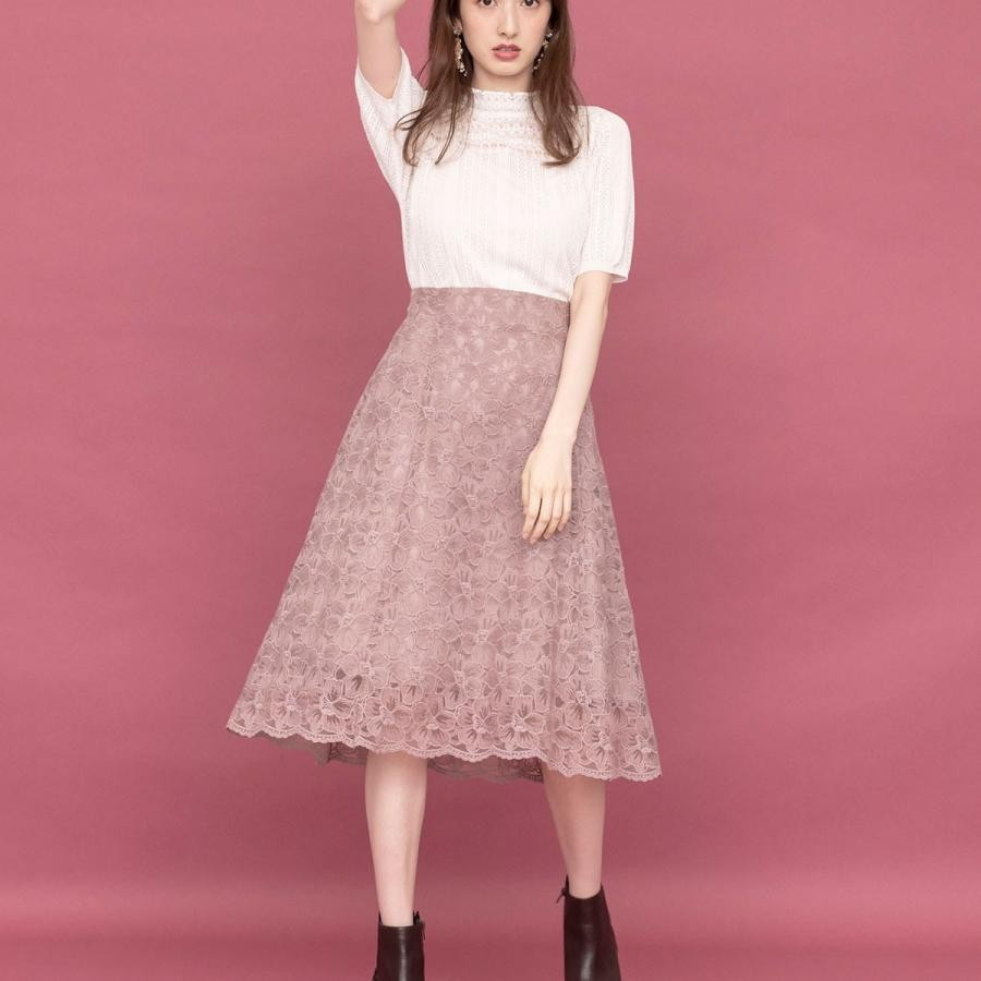 フラワー刺繍オーガンスカート