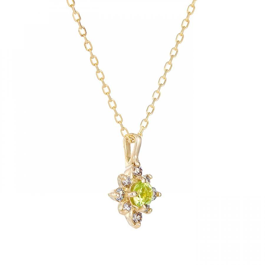 K10YGペリドット・ダイヤモンド ネックレス