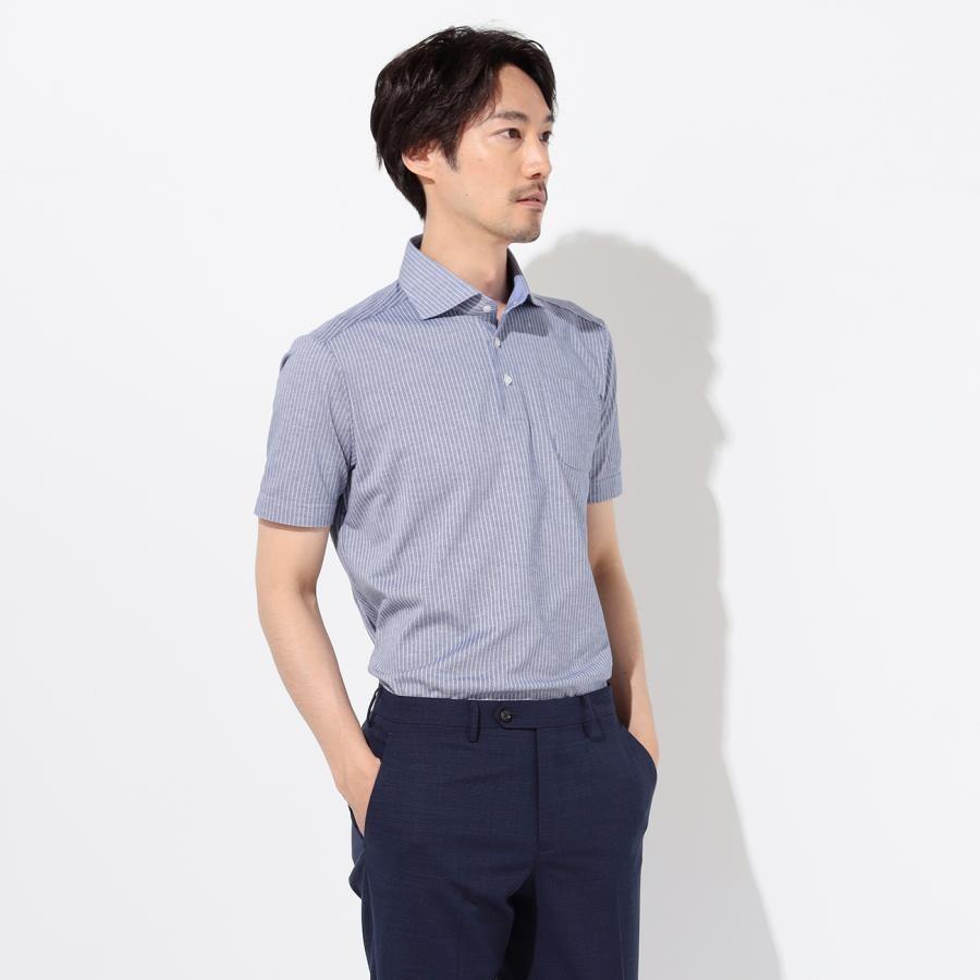 ストライプ ワイドカラー プルオーバー半袖ポロシャツ