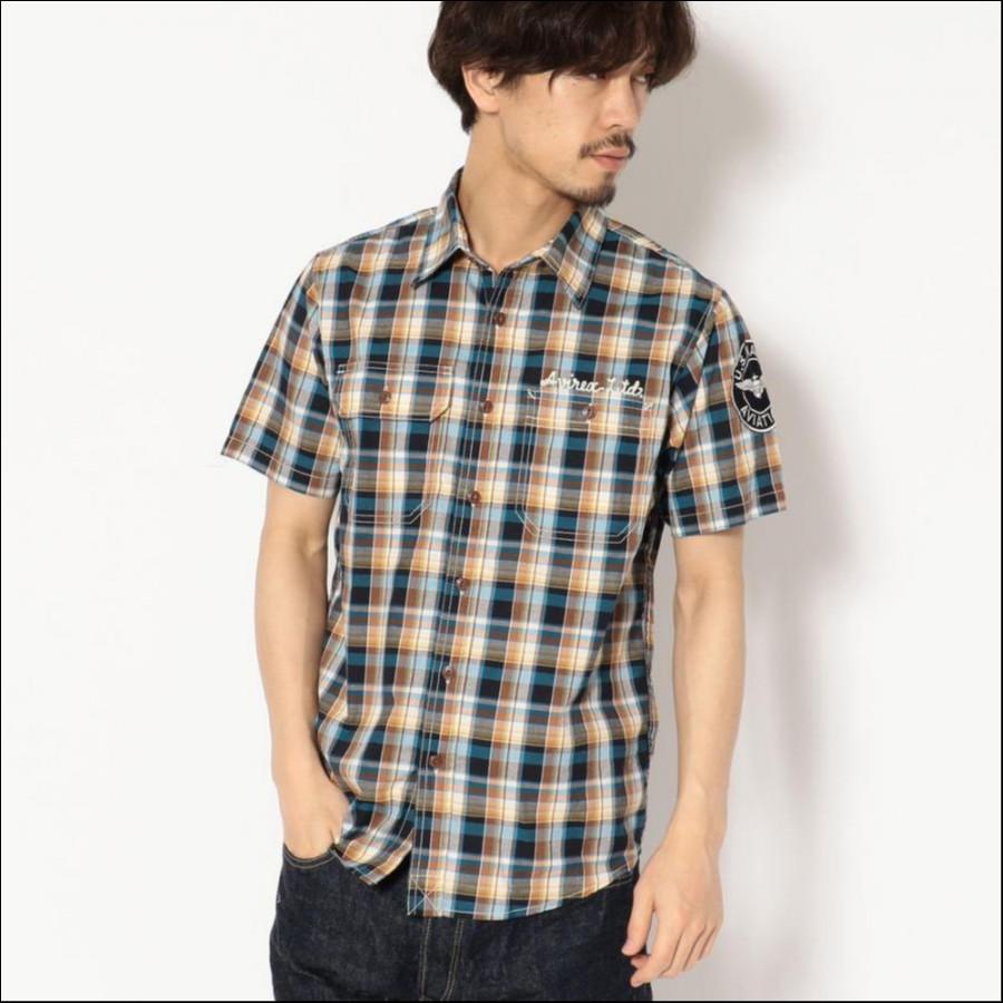 AVIREX/アヴィレックス/ 半袖 ブロードチェック 刺繍シャツ/ S/S BROAD CHECK EMBROIDERY SHIRT