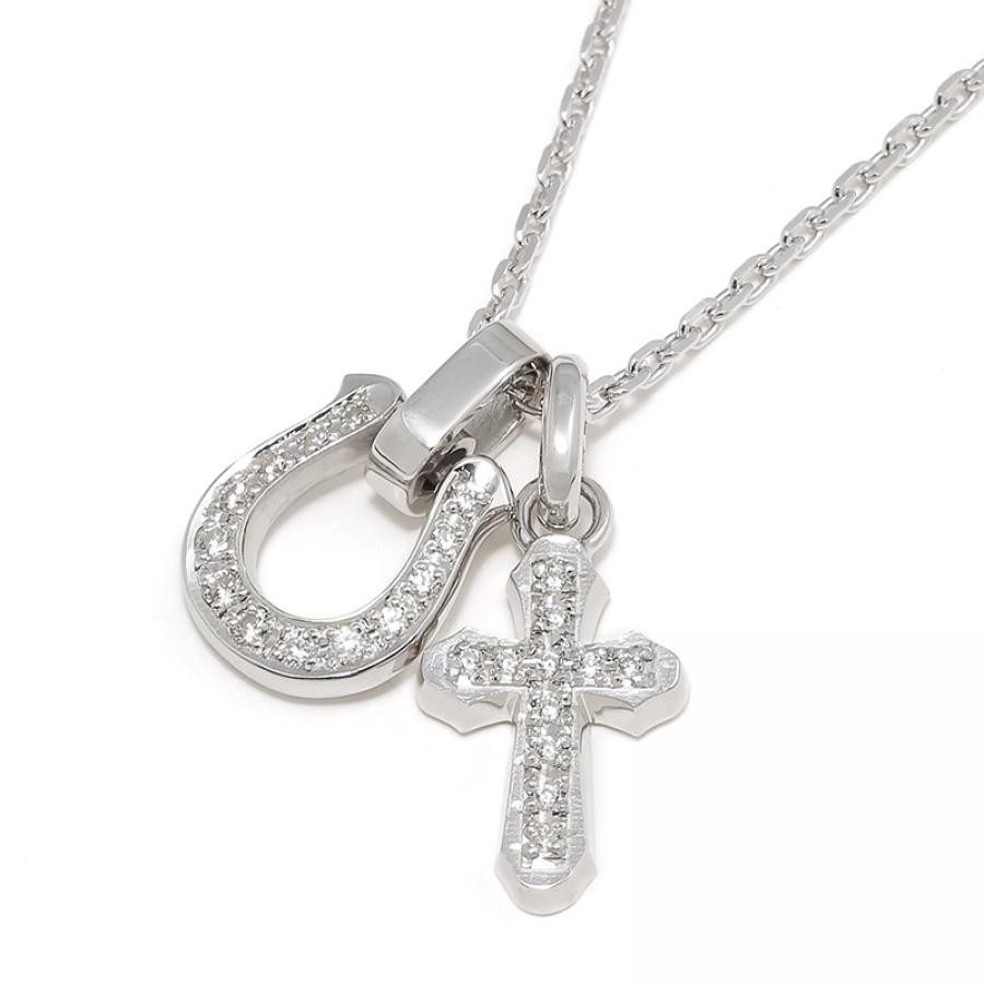 Horseshoe Amulet + Smooth Cross Set Necklace - Silver w/CZ