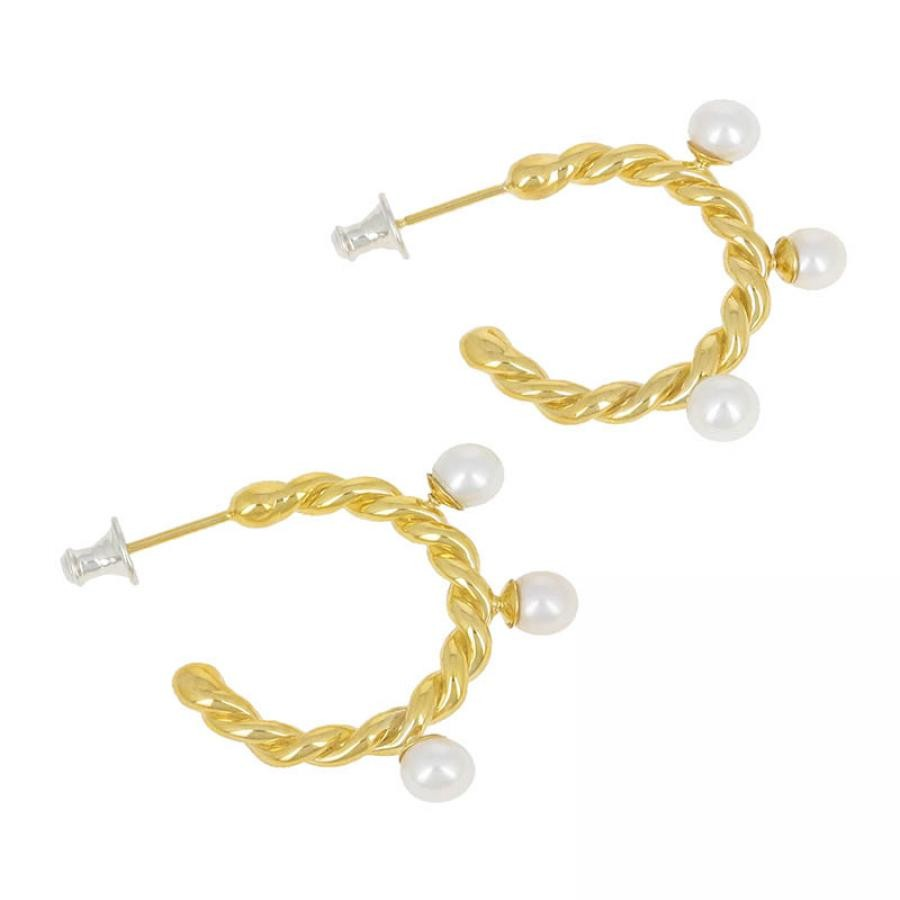 Twist Pierce - Gold Plated w/Pearl