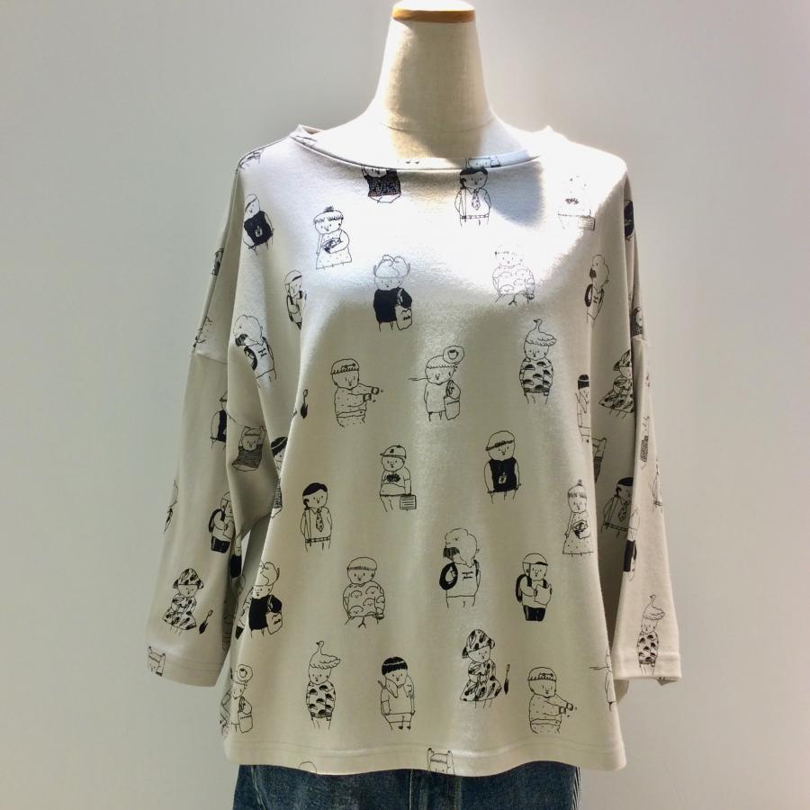 ナガキパーマコラボTシャツ(総柄グレー