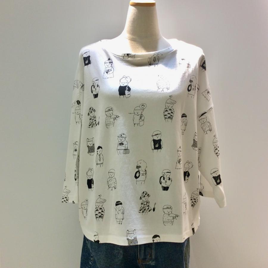 ナガキパーマコラボTシャツ(総柄白