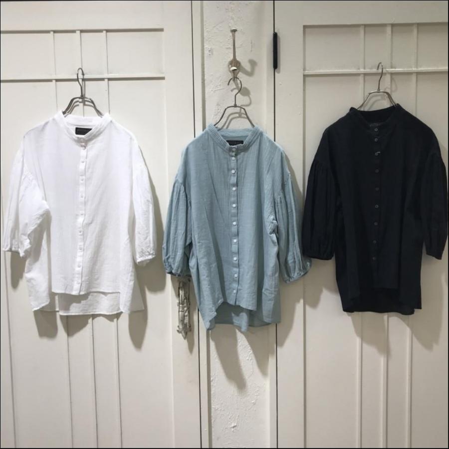 ピンタックスタンドカラーシャツ