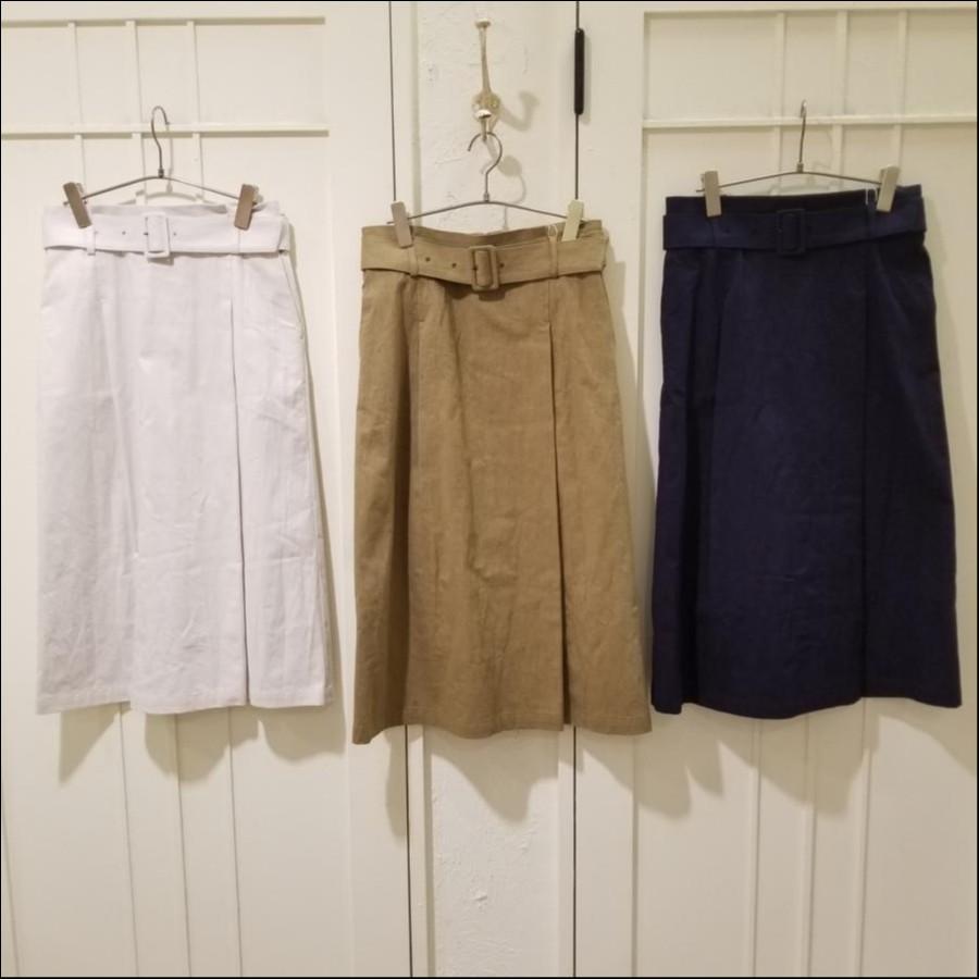 コットンツイルベルトタイトスカート