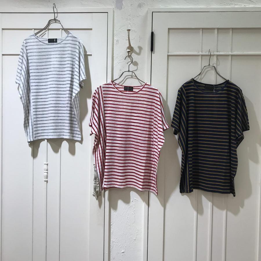 綿麻ボーダー切替Tシャツ