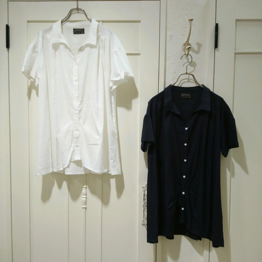 コットンへリンボンゆるスキッパーシャツ