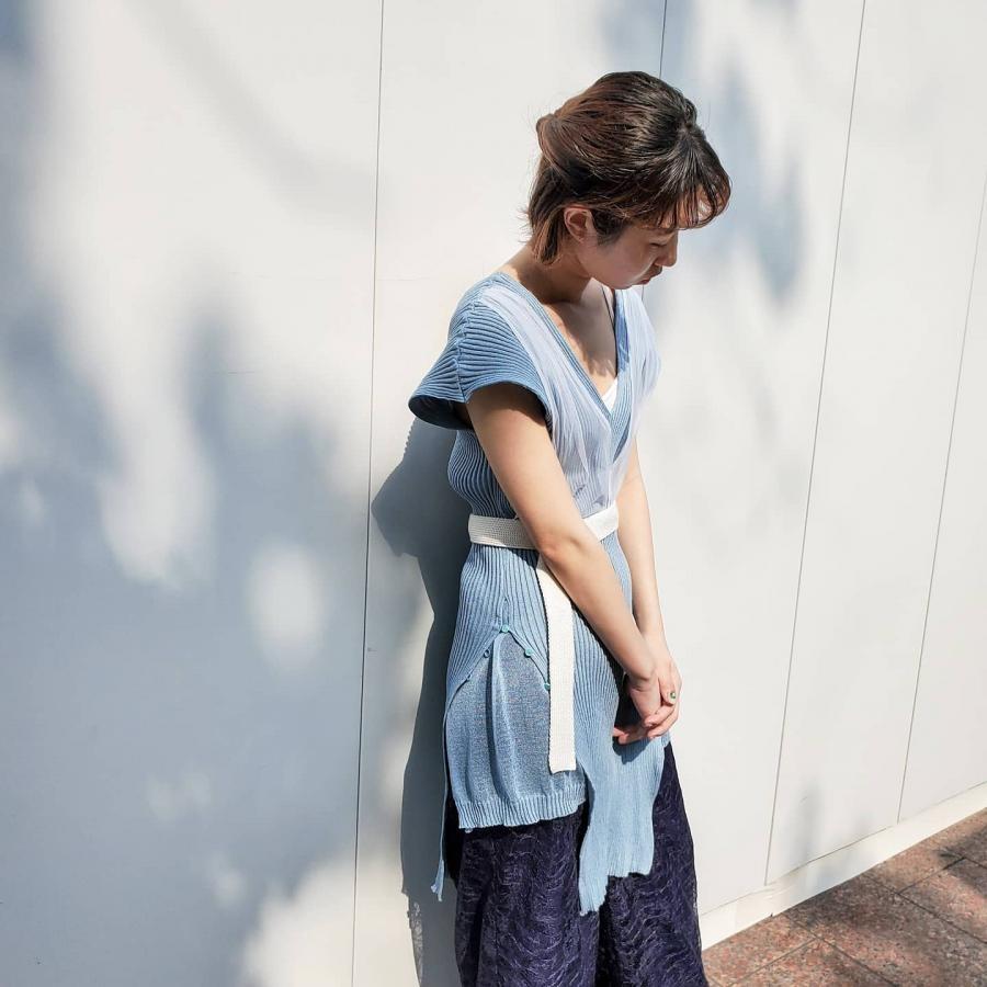 YUKI SHIMANE Rib Layered knit dress