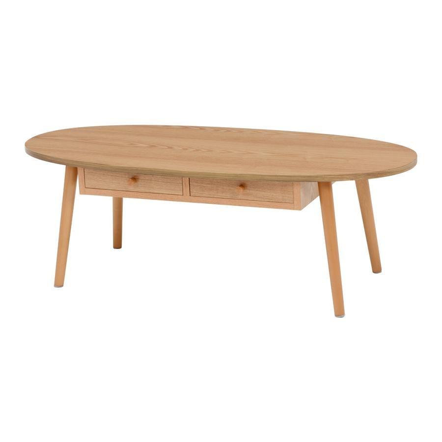 引き出し付きテーブル(オーバル)