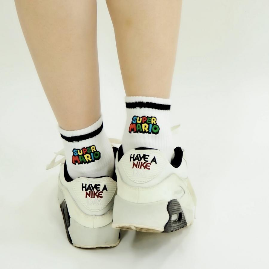 スーパーマリオ アメリブロゴ刺繍靴下02【22~24cm】