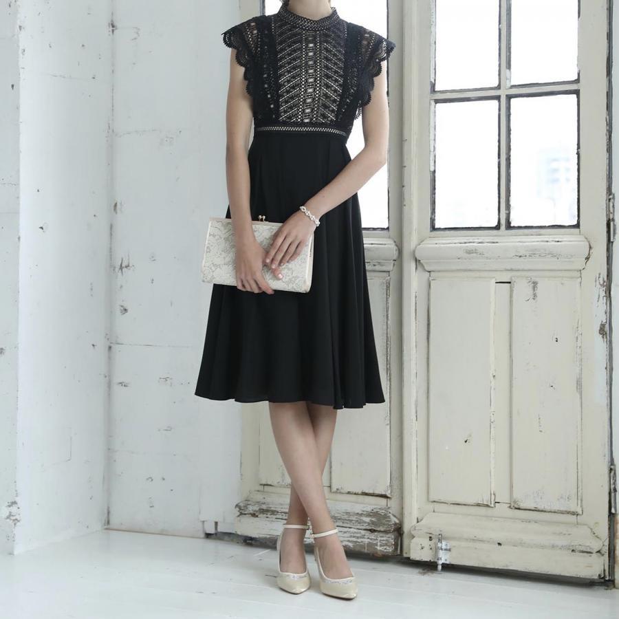幾何学レース切り替えシフォンフレアースカートドレス
