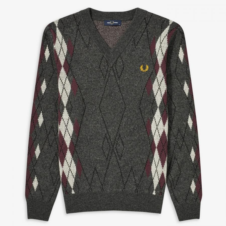 ARGYLE V-NECK JUMPER