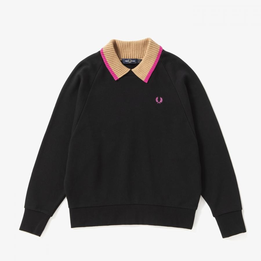 KNITTED COLLAR SWEATSHIRT