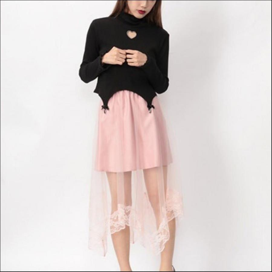 裾レースチュールレイヤードスカート