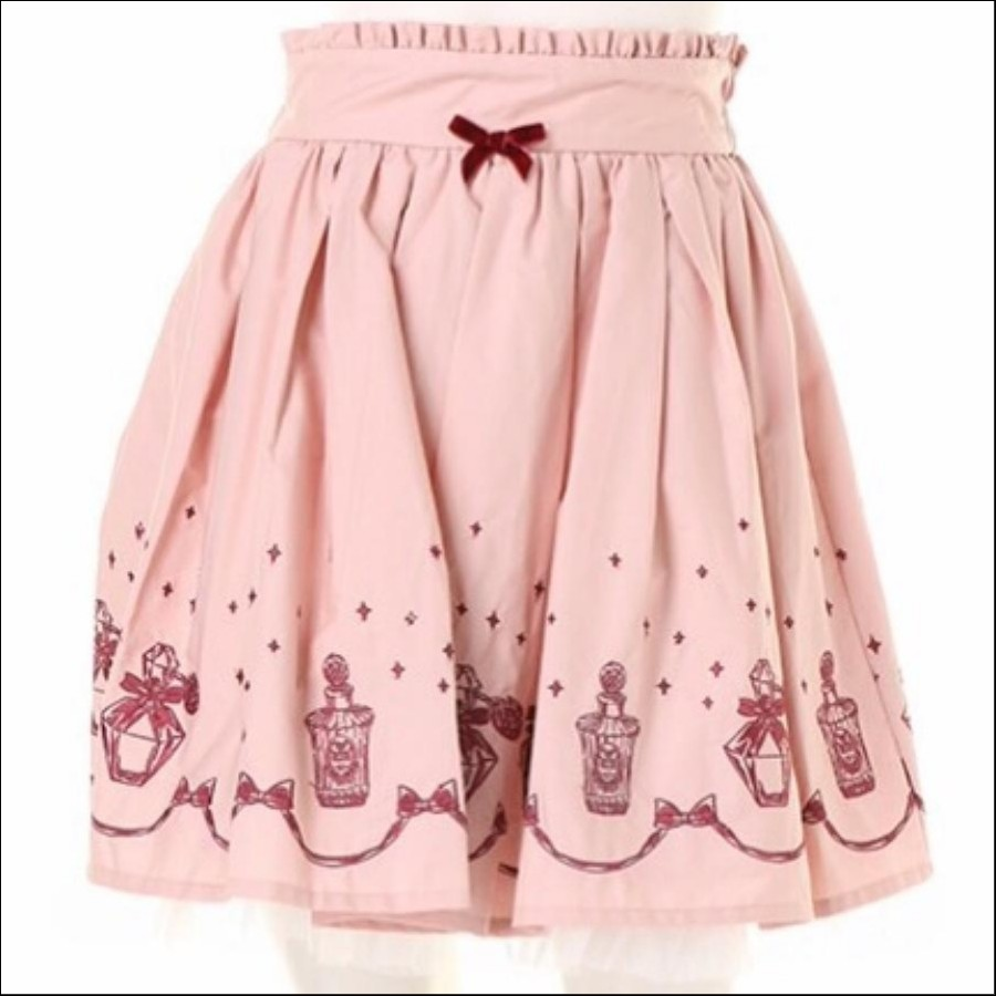 香水瓶柄刺繍スカート