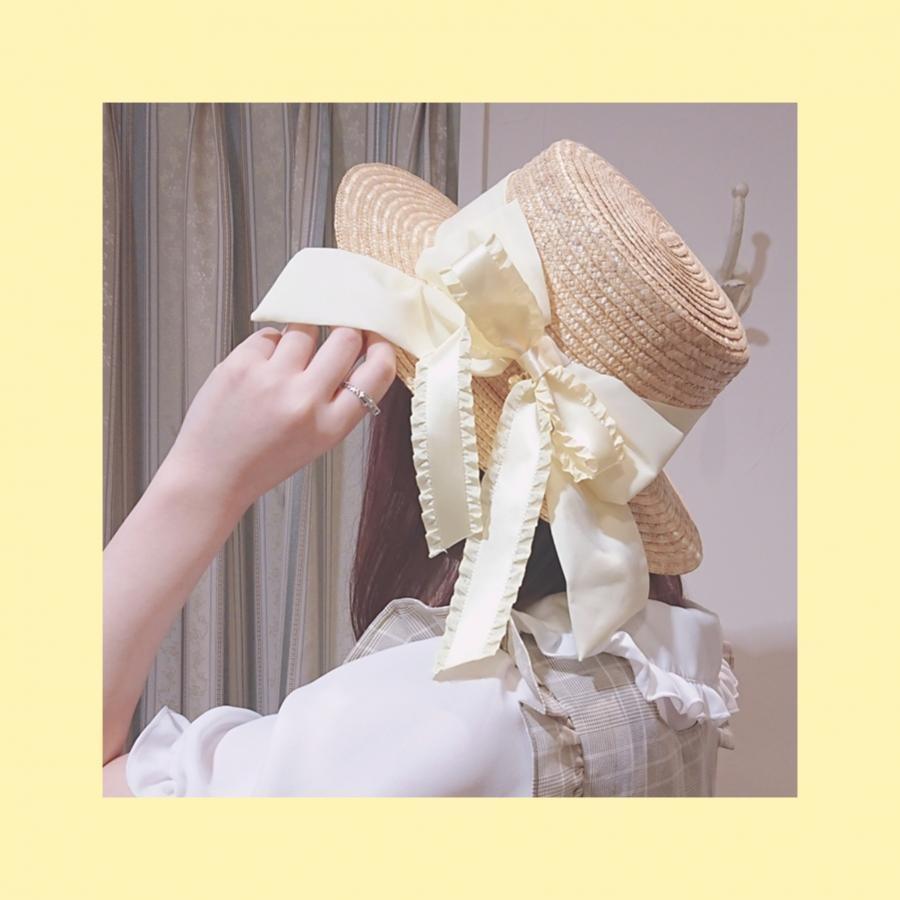 フリルリボンカンカン帽