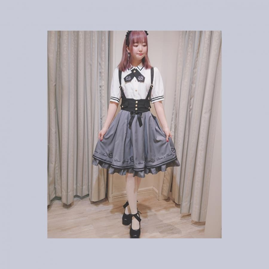 Emblem ストライプ ミドル丈スカート