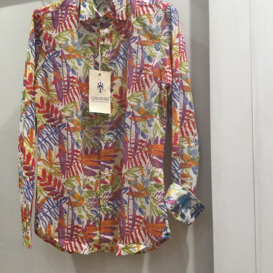 Ganesh リゾートシャツ マルチカラー系1