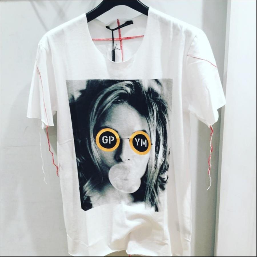 gene par yukio mishiba Tシャツ ホワイト×イエロー