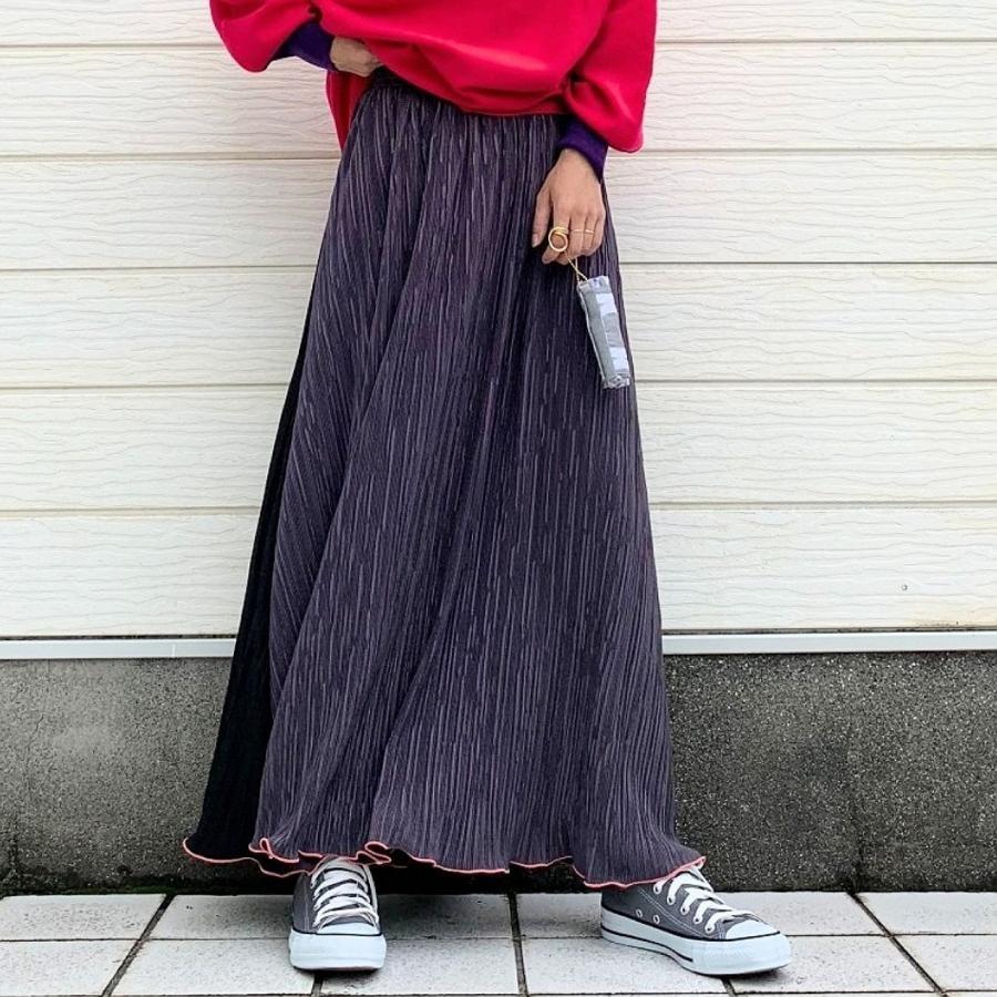 バイカラーマイクロプリーツスカート