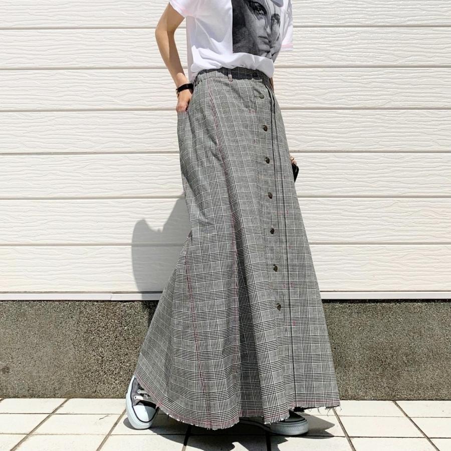 グレンチェックマーメイドスカート