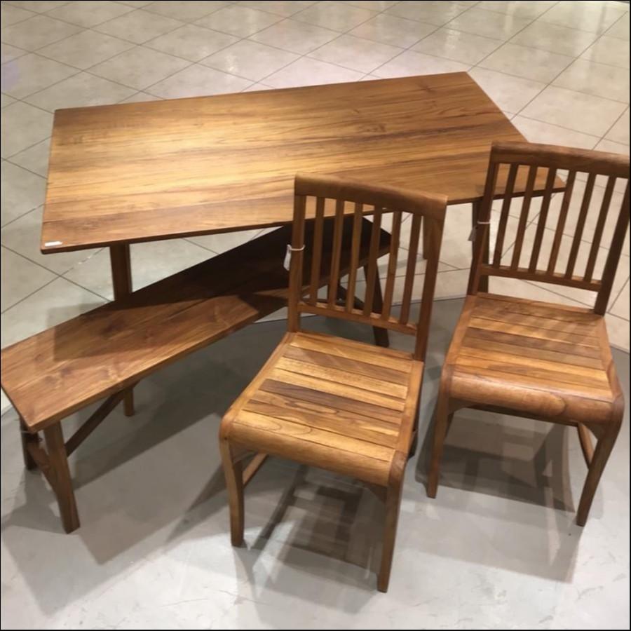 """""""2019年福家具""""ウッドダイニングテーブル(140㎝)、チェア×2、ベンチ"""