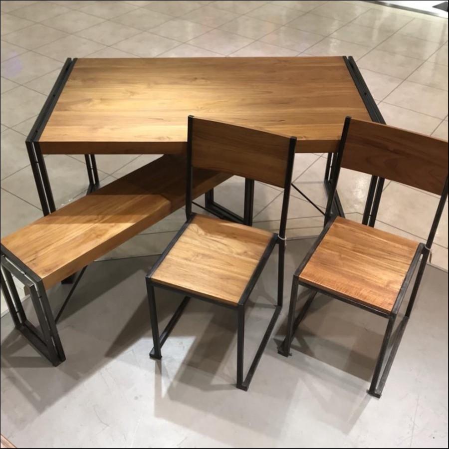 """""""2019年福家具""""アイアンダイニングテーブル(幅140cm)、チェア×2、ベンチ"""