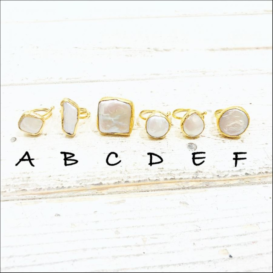 1 stone ring Pearl A - F
