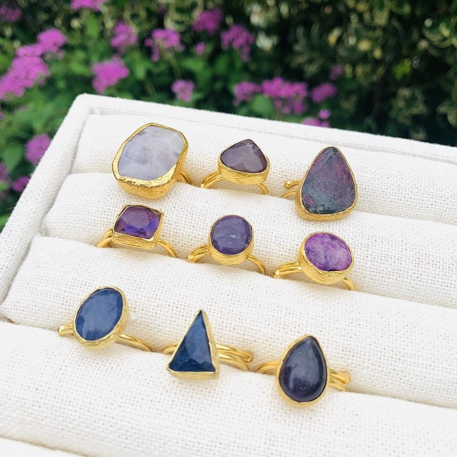 Brass 1stone ring〈navy&purple〉
