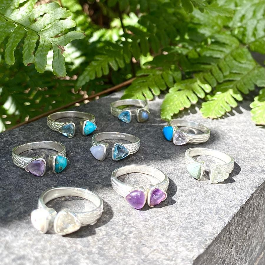 Silver925 2stone ring 《 triangle》