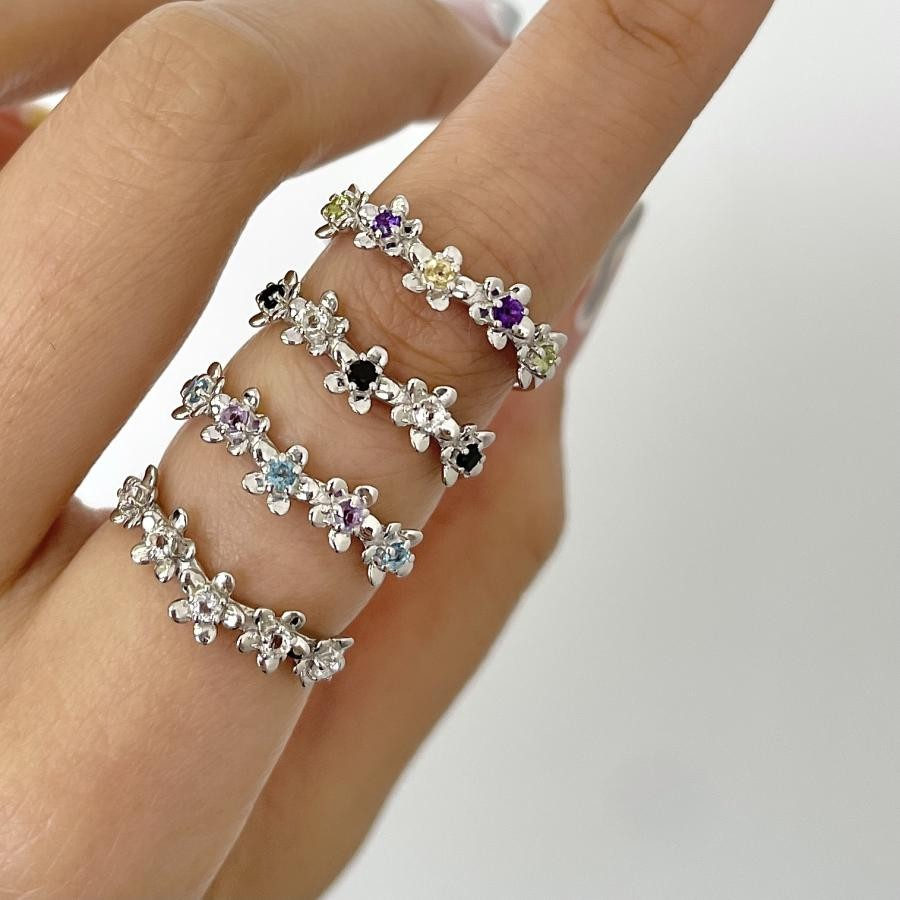Silver925 flower 5stone ring