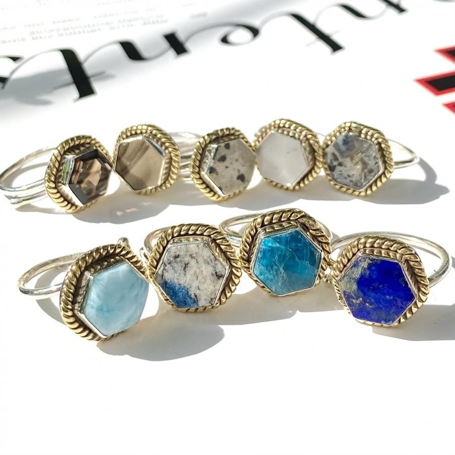 Silver925×Brass hexagon ring 2