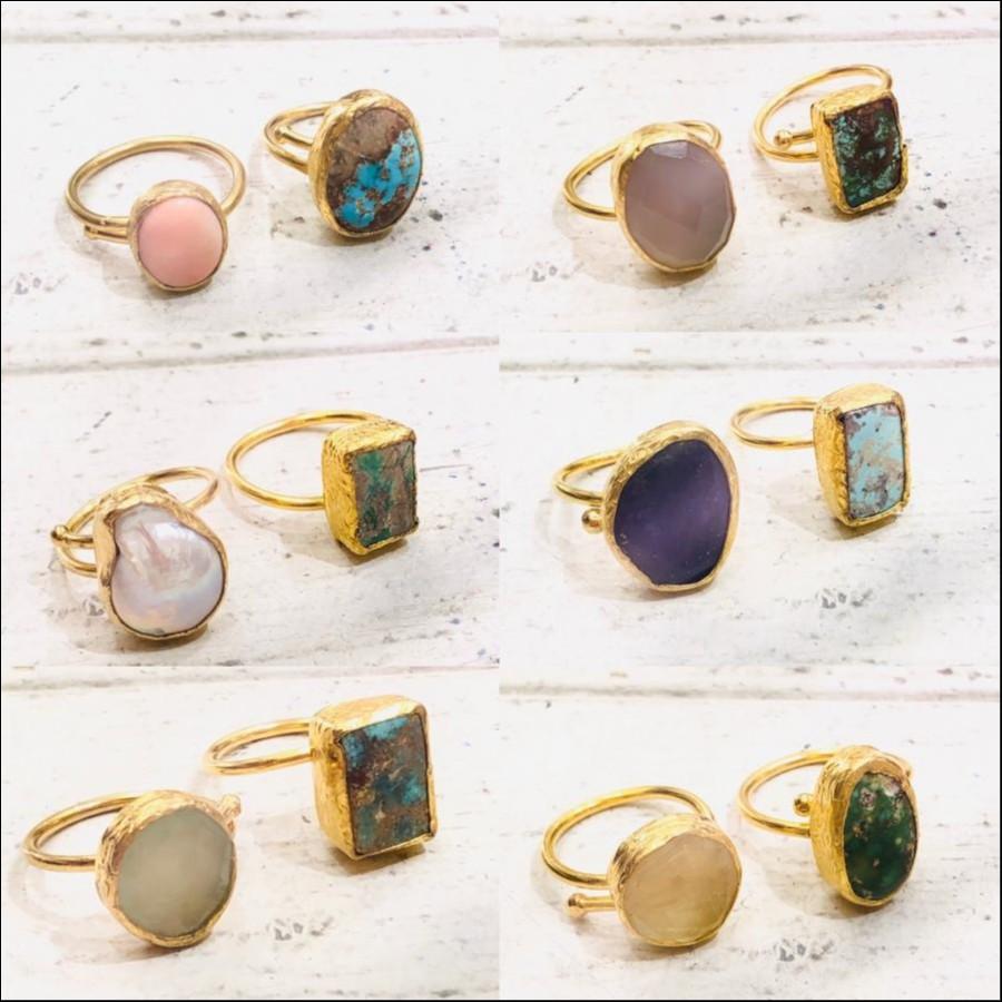 天然石ring 2set