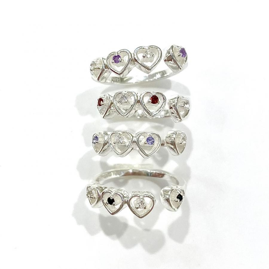 Silver925 heart 4stone ring