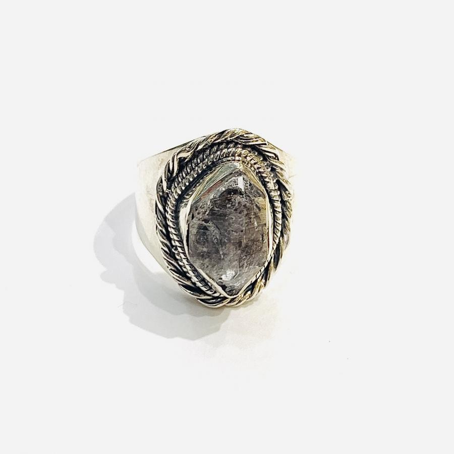 Silver925 原石ゴロゴロ Connect ring〈Herkimer Diamond〉