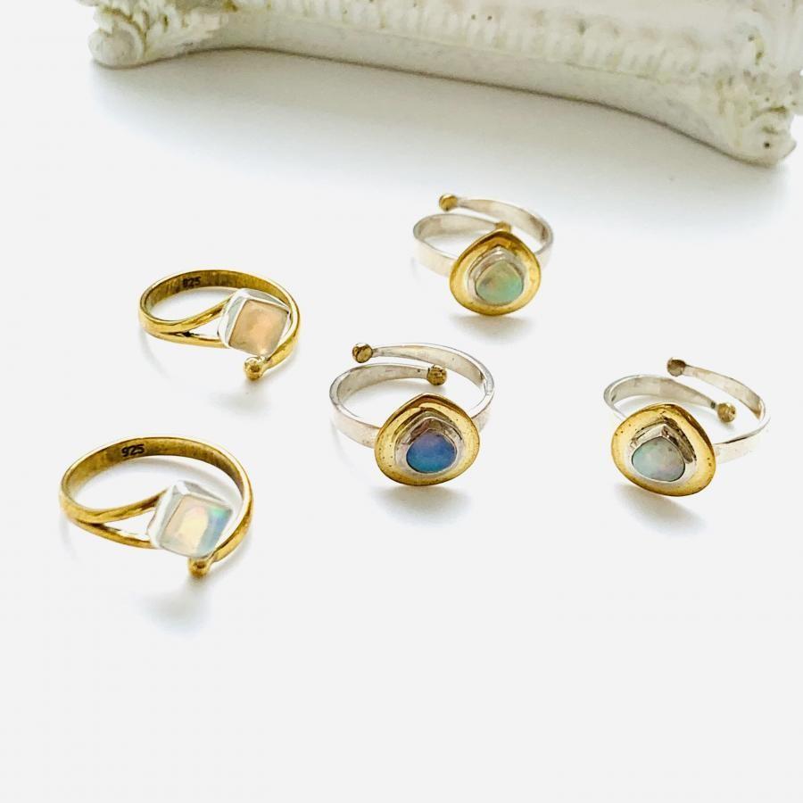 Silver925×Brass opal ring