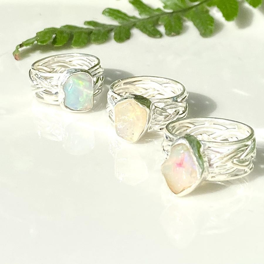 Silver925 rough cut Opal ring
