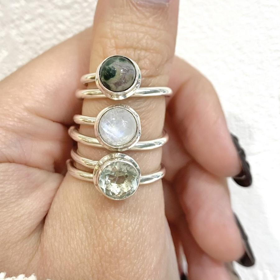 Silver925 Round simple ring①