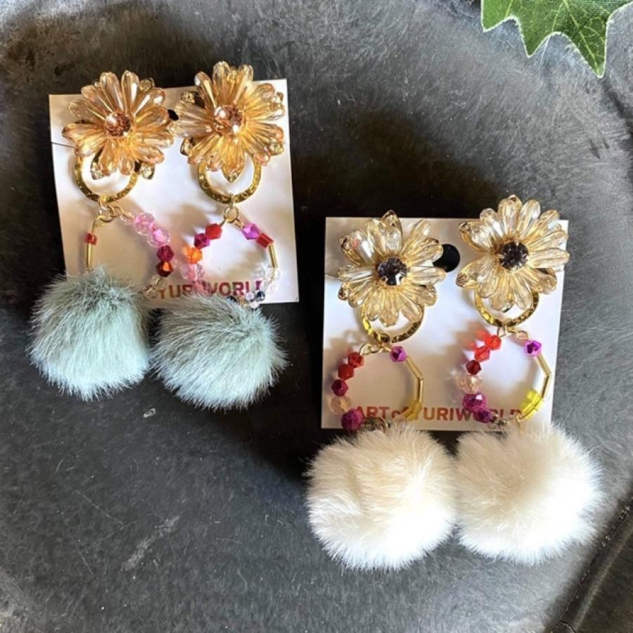 ARTofYURIWORLD YURIの花シリーズ winter flower イヤリング・ピアス (YW)