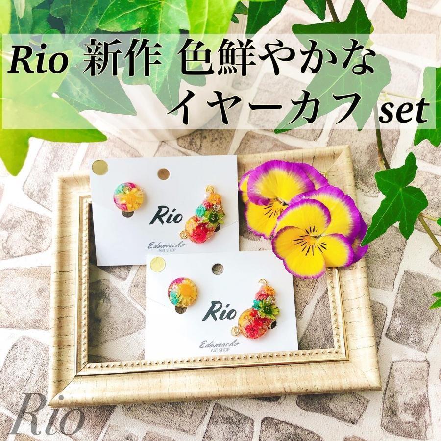 Rio 本物のお花 イヤーカフset(colorful)イヤリング・ピアス(YW12)