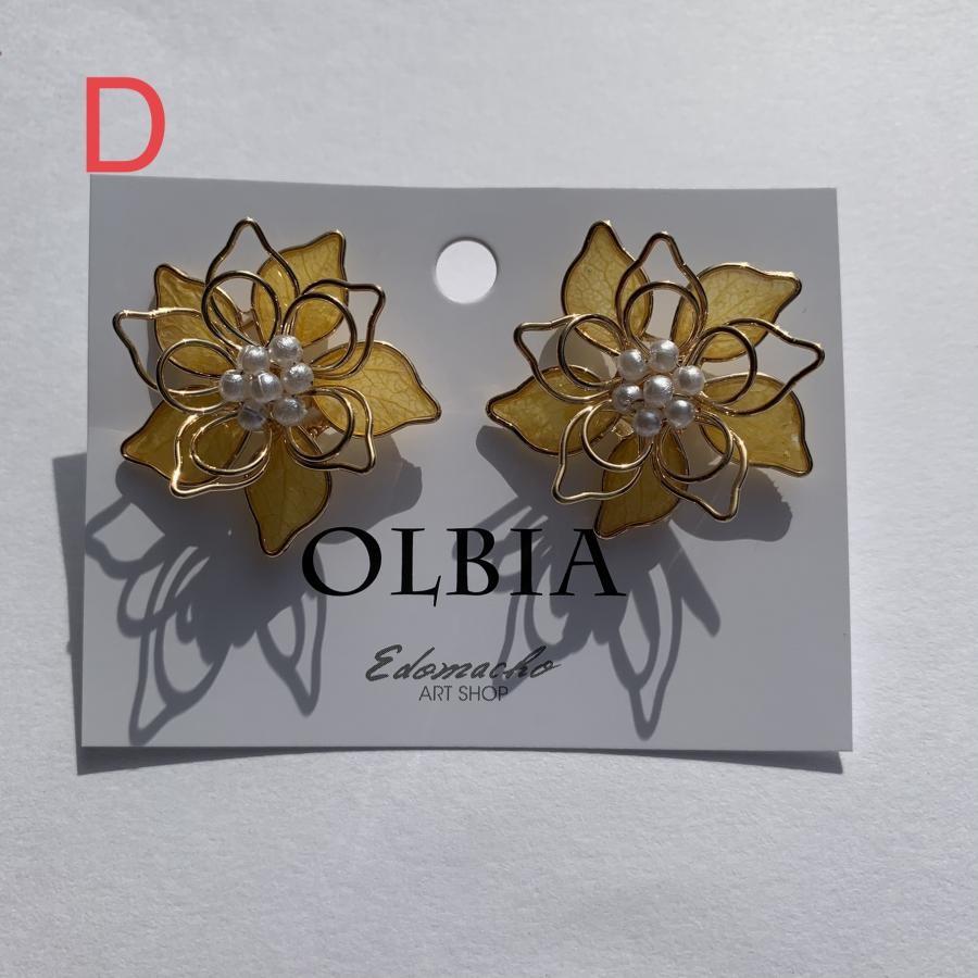 OLBIA 新作登場‼️大ぶりワイヤーフラワー 本物のお花シリーズイヤリング ピアス(YW9)