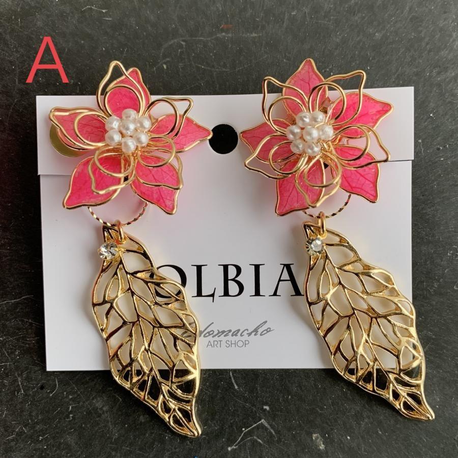 OLBIA 通販限定商品登場‼️2WAY大ぶりワイヤーフラワーとリーフチャーム 本物のお花シリーズイヤリング ピアス(YW9)
